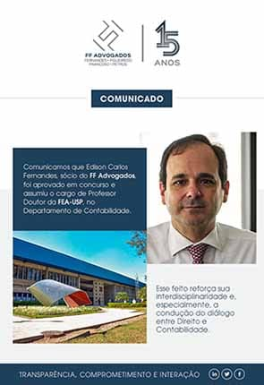 COMUNICADO: Edison Fernandes professor na USP/FEA